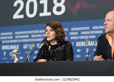 Berlin, Germany - February 24, 2018: Director Monika Szumowska, Grand Jury Prize Silver Bear for her film 'Twarz', during the press conference of the 68th edition of the Berlinale Film Festival