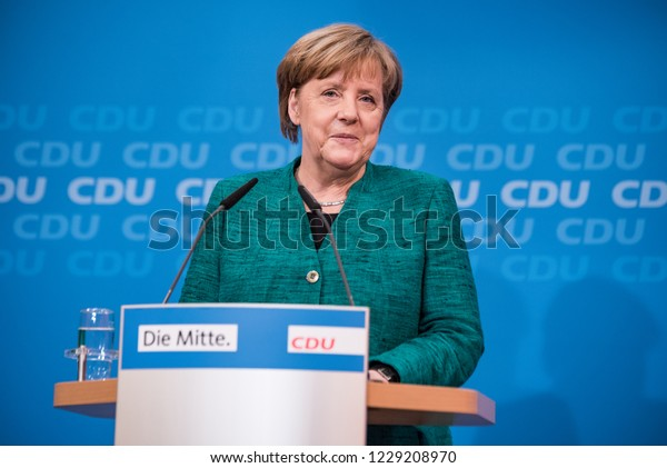Berlin, Germany - February 25th 2018: Angel Merkel talking about the coming decision regarding the GroKo (grand coalition) with the SPD.