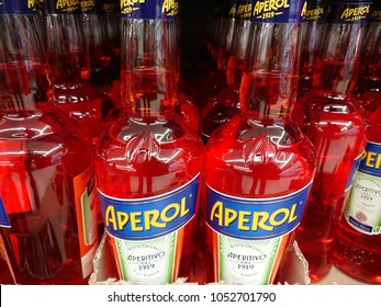 Berlin, Germany - February 3, 2018: Bottles of Aperol. Aperol is an Italian apéritif made of bitter orange, gentian, rhubarb, and cinchona, among other ingredients