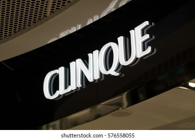 Berlin, Germany - February 6, 2017: Clinique logo. Clinique Laboratories is an American manufacturer of skincare, cosmetics, toiletries and fragrances. It is a subsidiary of the Estée Lauder Companies