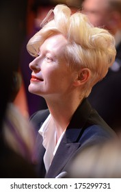 "BERLIN - GERMANY - FEBRUARY 6: Tilda Swinton at the 64th Annual Berlinale International Film Festival ""The Grand Budapest Hotel"" premiere at Berlinale Palast on February 6, 2014 in Berlin, Germany."