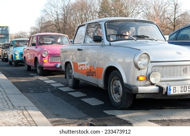 BERLIN, GERMANY - FEBRUARY 7, 2011: queue of Trabant cars