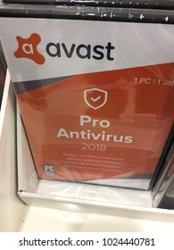 Berlin, Germany - February 7, 2018: Avast Pro Antivirus displayed on store shelf. Avast Pro Antivirus is a full PC protection suite, with numerous features and multi-function security tools