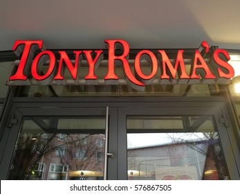 Berlin, Germany - February 8, 2017: Tony Roma's sign. It is a chain restaurant specializing in baby back ribs. The first location was established in 1972 and today there are more than 150 locations