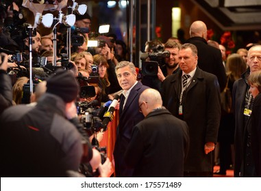 "BERLIN - GERMANY - FEBRUARY 8: George Clooney at the 64th Annual Berlinale International Film Festival ""The Monuments Men"" premiere at Berlinale Palast on February 8, 2014 in Berlin, Germany."