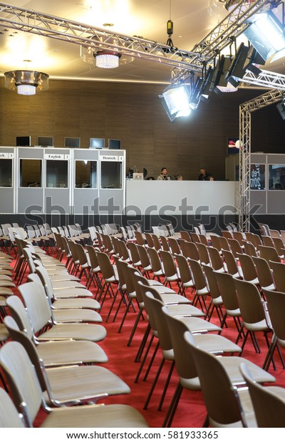 Berlin, Germany - February 9, 2017: Empty chairs in conference hall before 67th Berlinale Film Festival opening ceremony in Berlinale Palace