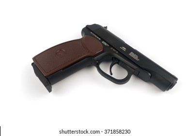 BERLIN, GERMANY -JAN 25 2016.  The Makarov pistol or PM is a Russian semi-automatic pistol. Under the project leadership of Nikolay Fyodorovich Makarov, it became the Soviet Union's standard military