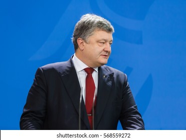 BERLIN, GERMANY - Jan 30, 2017: President of Ukraine Petro Poroshenko during a joint briefing with Chancellor of the Federal Republic of Germany Angela Merkel
