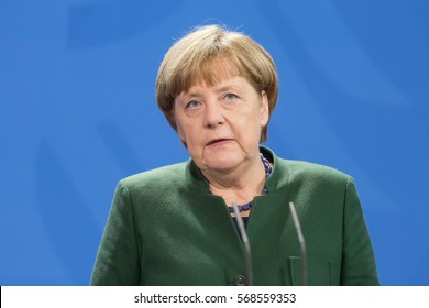 BERLIN, GERMANY - Jan 30, 2017: Chancellor of the Federal Republic of Germany Angela Merkel during a joint briefing with President of Ukraine Petro Poroshenko