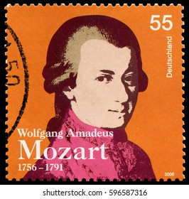 Berlin, Germany - Jan.2, 2006: Wolfgang Amadeus Mozart (1756-1791), German prolific and influential composer of the Classical era.Stamp issued by German Post in 2006.