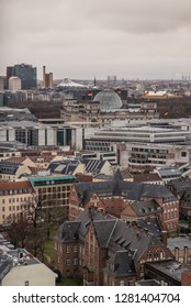 BERLIN, GERMANY - January 05, 2019, Government District with Parliament (Reichstag) and Potsdamer Platz in the rear - aerial view