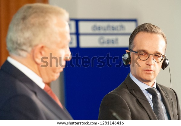 Berlin, Germany - January 10, 2019: The German foreign minister, Heiko Maas, holds a press conference with the Kosovo foreign minister, Behgjet Pacolli. Pictured L-R: Behgjet Pacolli & Heiko Maas.