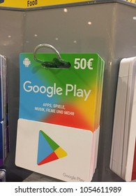 Berlin, Germany - January 12, 2018: Google play gift cards. Google Play (formerly Android Market) is a digital distribution service operated and developed by Google
