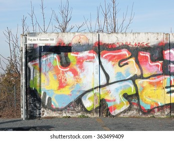BERLIN; GERMANY; JANUARY 15; 2016: The Bornholm Bridge is the historic place, where at 9th November 1989 the Berlin Wall has fallen. Some fragments of the Berlin Wall are preserved here today.