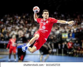 Berlin, Germany, January 15, 2019: Handball player Nemanja Ilic of Serbia in a spectacular action during the Men's Handball World Cup 2019.