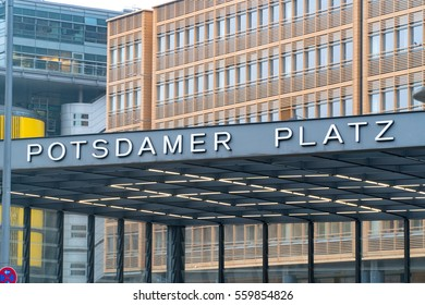Berlin, Germany - January 18, 2017: Potsdamer Platz underground station, the new modern city center and financial district of Berlin