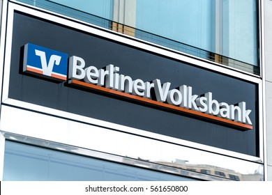 Berlin, Germany - January 18, 2017: Berliner Volksbank branch. Berliner Volksbank eG based in Berlin is one of the largest co-operative banks in Germany. Its historical roots reach back to year 1858