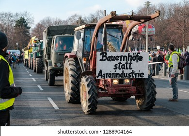 Berlin, Germany - January 19, 2019: Demonstration against the german and EU agricultural policy and for sustainable agriculture in Berlin, Germany