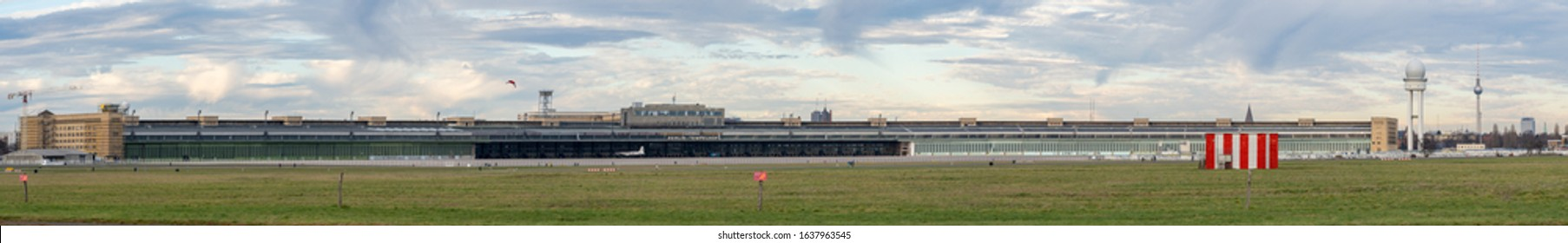 berlin, germany, January 2020: beautiful panorama view about the closed, former berlin tempelhof airport