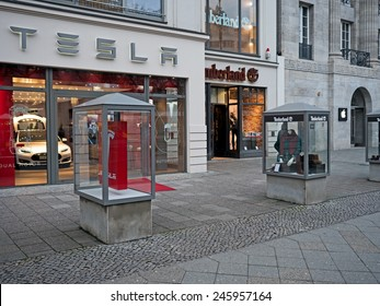 Berlin, Germany - January 21, 2015: Shops of Apple, Timberland and Tesla in Kudamm