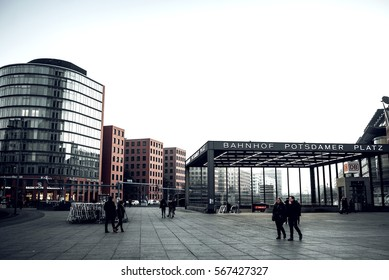 Berlin, Germany - January 22, 2017. The Potsdamer Platz is one of the most important places of Berlin. Located in the Mitte district and  attraction for tourists from around the world. Toned image.