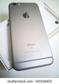Berlin, Germany - January 26, 2017: Silver Apple iPhone 6s mockup back side