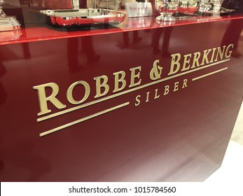 Berlin, Germany - January 27, 2018: Robbe & Berking sign. The Germany company provides silver cutlery and table accessories since 1874