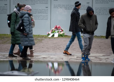 Berlin, Germany - January 27th 2019: International Holocaust Remembrance Day. A wreath is laid at The Memorial to the Sinti and Roma Victims of National Socialism.