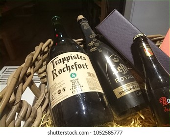 Berlin, Germany - January 28, 2018: Bottles of Trappistes Rochefort and Leffe beer. Rochefort Brewery (Brasserie de Rochefort) is a Belgian brewery which produces three beers known as Trappist beers