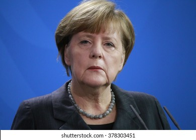 BERLIN, GERMANY - JANUARY 29, 2016: German Chancellor Angela Merkel at a press conference after a meeting with the Italian Prime Minister in the Chanclery.