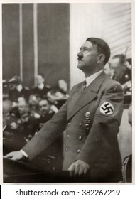 BERLIN, GERMANY -  JANUARY 30, 1939: Hitler speaks to the Reichstag on the Jewish Question. Reproduction of antique photo.