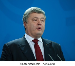 BERLIN, GERMANY - January 30, 2017 Press conference with the President of Ukraine Petro Poroschenko at the German Chancellery