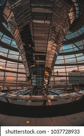 BERLIN, GERMANY - January 31 2018: Top of the dome at Reichstag building.