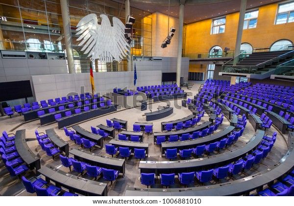 BERLIN, GERMANY - january 5 2018: Interior of Plenary Hall meeting room of German Parliament Deutscher Bundestag. Building and Meeting room available for public between plenary sessions