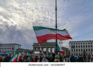 Berlin, Germany - January 6, 2018: Iran demonstration in front of brandenburg gate