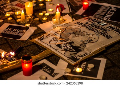 BERLIN, GERMANY - JANUARY 7TH, 2015: March against Charlie Hebdo magazine terrorism attack, on January 7th, 2015,  in front of France Embassy in Berlin, Germany