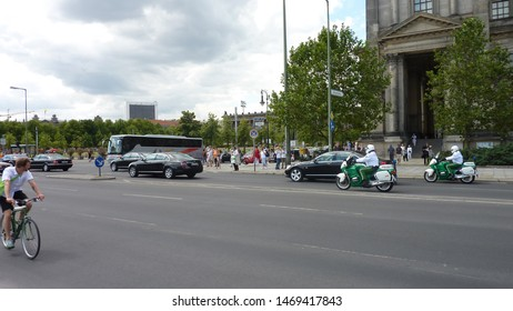 Berlin, Germany - July 05 2019: Elite police motorcycles escort Chancellor of Germany through the streets of Berlin.
