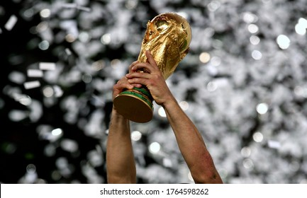 Berlin, GERMANY - July 09, 2006:  The FIFA World Cup trophy is raised  during the 2006 FIFA World Cup Germany Final   Italy v France at the Olympiastadion.