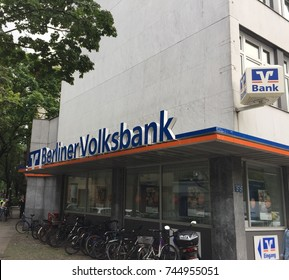 Berlin, Germany - July 10, 2017: Berliner Volksbank branch. Berliner Volksbank eG based in Berlin is one of the largest co-operative banks in Germany. Its historical roots reach back to year 1858