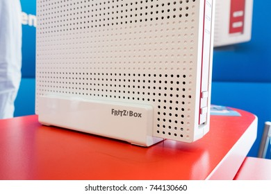 Berlin, Germany - July 12, 2017: FRITZ. Box Cable in store shelf. Fritz!Box, stylised as FRITZ!Box, is a series of residential gateway devices produced by the German company AVM GmbH