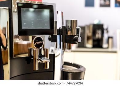 Berlin, Germany - July 12, 2017: Jura coffee machine. Jura Elektroapparate AG is a Swiss developer and distributor of home appliances