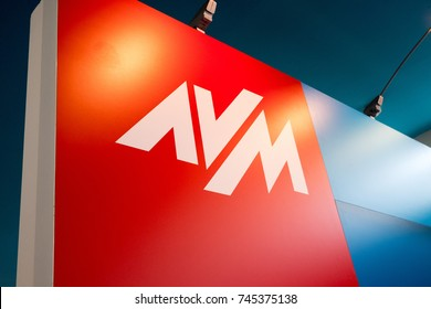 Berlin, Germany - July 12, 2017: AVM logo. Founded in 1986 in Berlin, AVM is a consumer electronics company producing communications, networking devices such as DSL, ISDN, Wireless and VoIP products