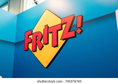 Berlin, Germany - July 12, 2017: FRITZ! logo. Fritz!Box, stylised as FRITZ!Box, is a series of residential gateway devices produced by the German company AVM GmbH