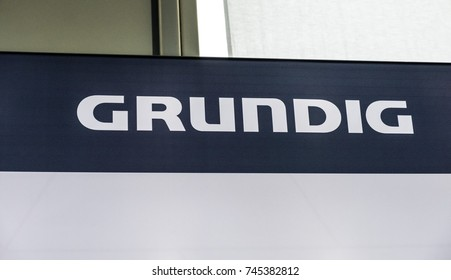 Berlin, Germany - July 12, 2017: Logo of the German company Grundig. Grundig is a German manufacturer of consumer electronics, domestic appliances and personal care products