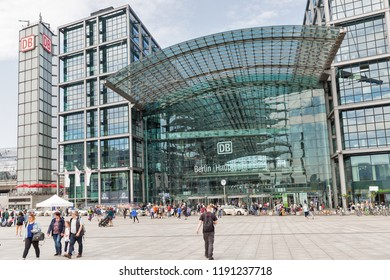 BERLIN, GERMANY - JULY 13, 2018: Facade view of Berlin Central Railway Station square or Berlin Hauptbahnhof, Hbf. Station was opened in May 2006, operated by DB Station and Service.