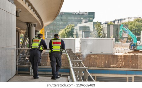 BERLIN, GERMANY - JULY 13, 2018: Berlin road police officers of the central passenger railway station Hauptbahnhof.