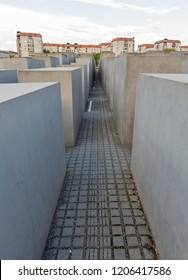 BERLIN, GERMANY - JULY 13, 2018: Memorial to the Murdered Jews of Europe, victims of the Holocaust. The idea belongs to the Berlin publicist Lea Rosh.