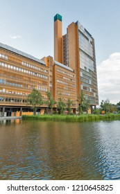 BERLIN, GERMANY - JULY 13, 2018: Modern beautiful building with Atrium Tower close to Potsdamer Platz and Piano Lake. Berlin is the capital and largest city of Germany by both area and population.