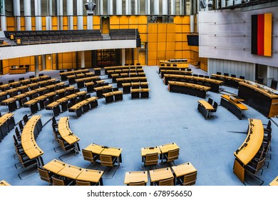 BERLIN, GERMANY - JULY 15 2017: Berlin Inner City. European Town and Capital of Germany at the river Spree. Buildings in the inner City. Landtag of Berlin, interior