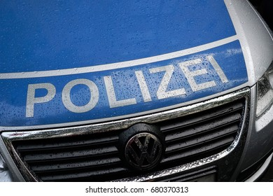 Berlin, Germany - July 15, 2017: German national police white and blue car